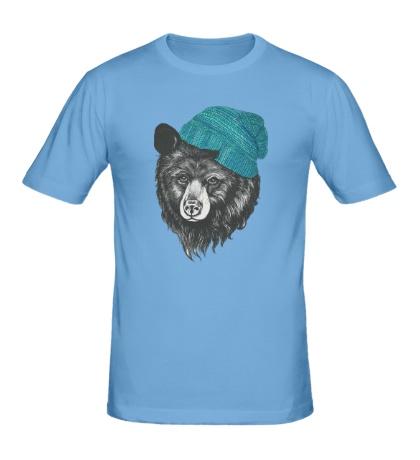 Мужская футболка Медведь в вязанной шапке