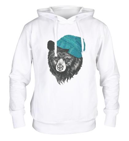 Толстовка с капюшоном Медведь в вязанной шапке