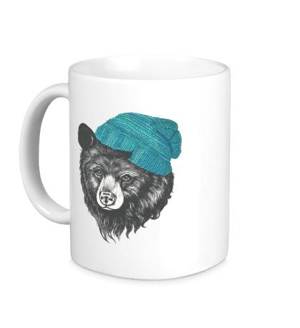 Керамическая кружка Медведь в вязанной шапке