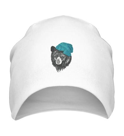 Шапка Медведь в вязанной шапке