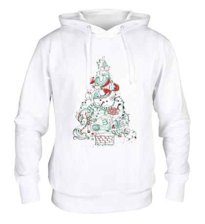 Толстовка с капюшоном Зимняя елка