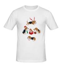 Мужская футболка Рождественские пёсики
