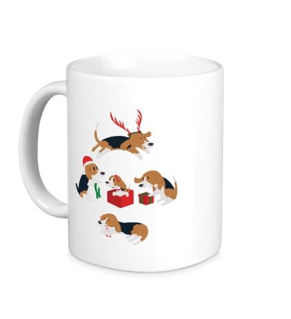 Керамическая кружка Рождественские пёсики