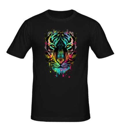 Мужская футболка Цветной взгляд тигра