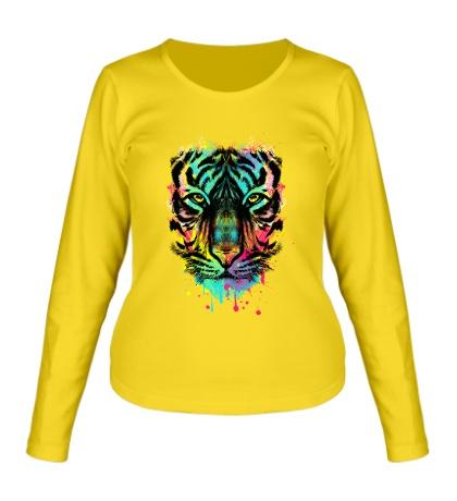 Женский лонгслив Цветной взгляд тигра
