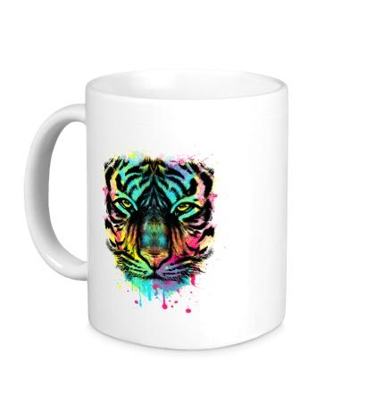 Керамическая кружка Цветной взгляд тигра