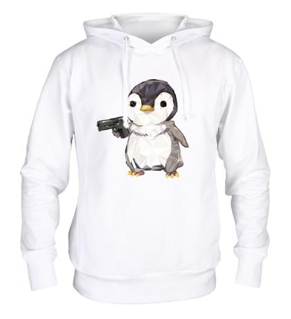 Толстовка с капюшоном Опасный пингвин