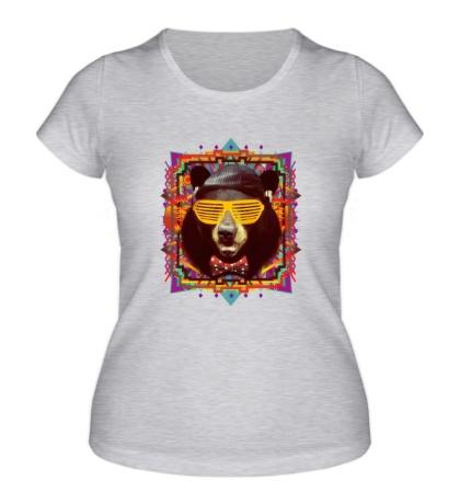 Женская футболка Медведь хипстер