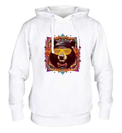 Толстовка с капюшоном «Медведь хипстер»