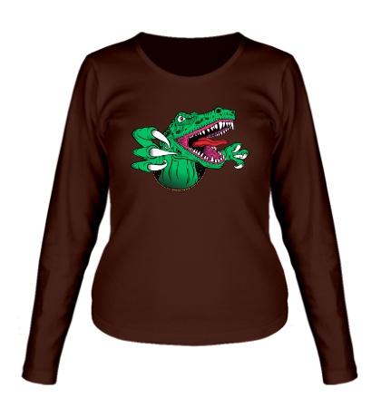 Женский лонгслив Голодный динозавр