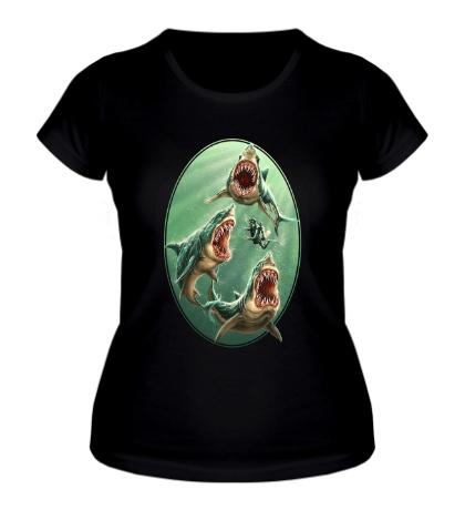 Женская футболка Ярость белых акул
