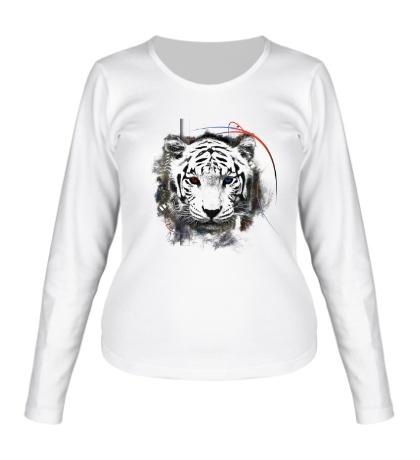 Женский лонгслив Белый тигр