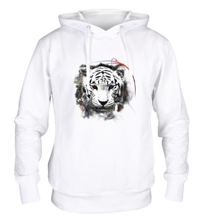 Толстовка с капюшоном Белый тигр
