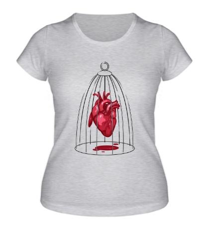 Женская футболка «Сердце в клетке»