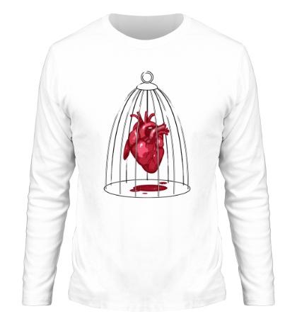 Мужской лонгслив Сердце в клетке