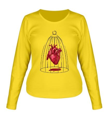 Женский лонгслив «Сердце в клетке»
