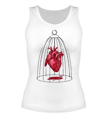 Женская майка «Сердце в клетке»