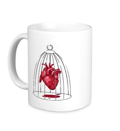 Керамическая кружка «Сердце в клетке»