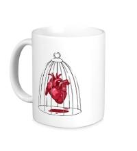 Керамическая кружка Сердце в клетке