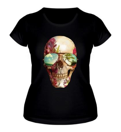 Женская футболка «Летний череп»