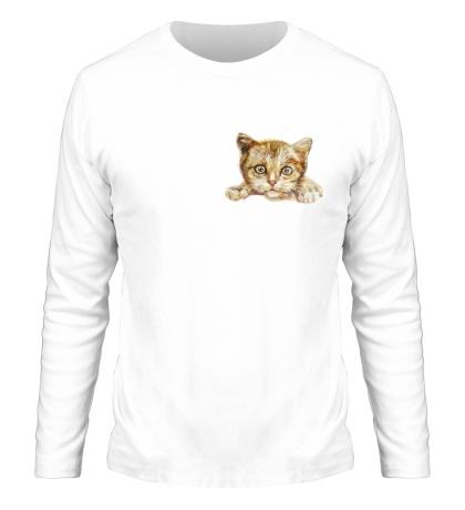 Мужской лонгслив Любящий котик
