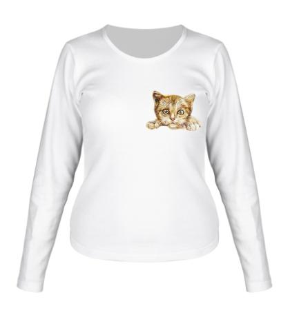 Женский лонгслив Любящий котик