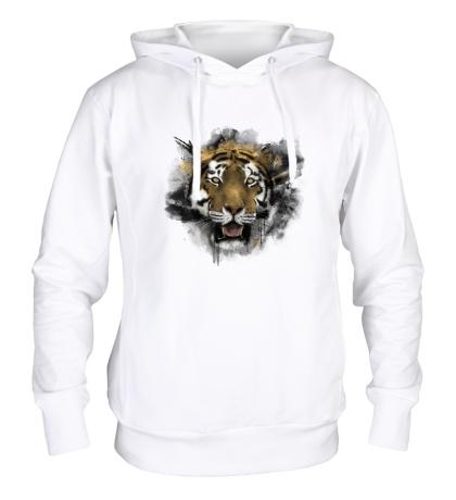 Толстовка с капюшоном Акварельный тигр