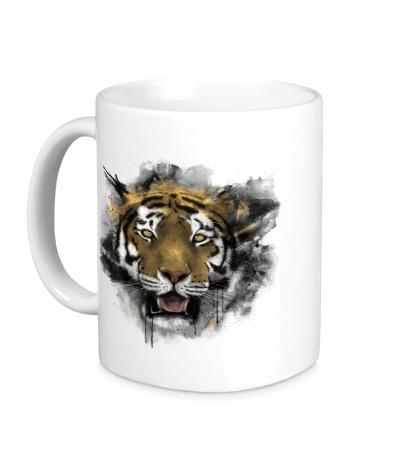 Керамическая кружка Акварельный тигр