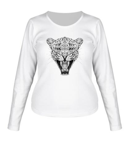 Женский лонгслив Взгляд леопарда