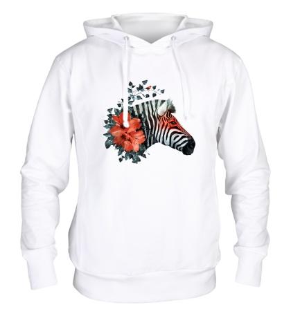 Толстовка с капюшоном Цветущая зебра