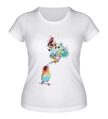Женская футболка Птичья мелодия