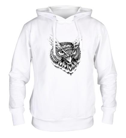 Толстовка с капюшоном Owl pencil drawing