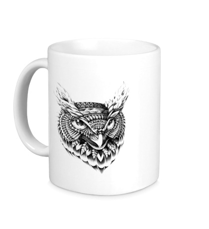 Керамическая кружка Owl pencil drawing