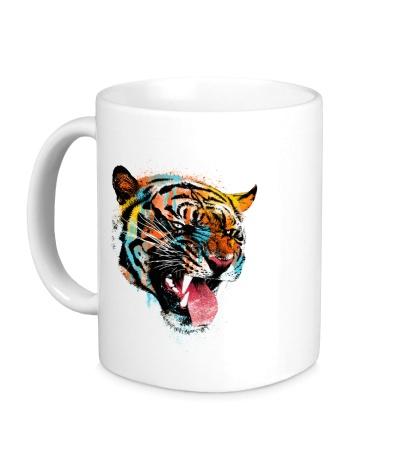 Керамическая кружка Tiger in the paint