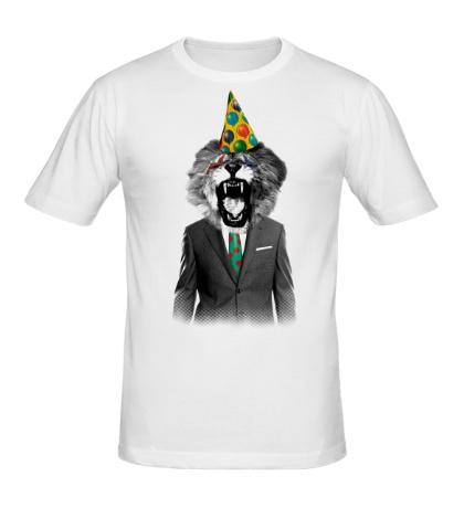 Мужская футболка Лев клоун