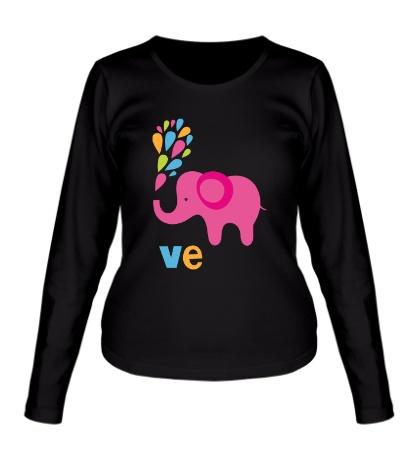 Женский лонгслив Влюбленная слониха