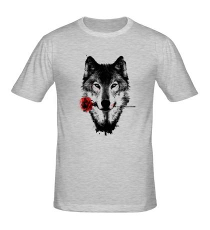 Мужская футболка Волк с розой