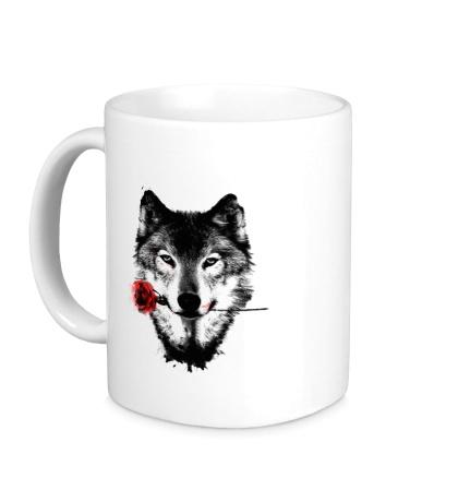 Керамическая кружка Волк с розой