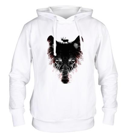 Толстовка с капюшоном Волк на охоте