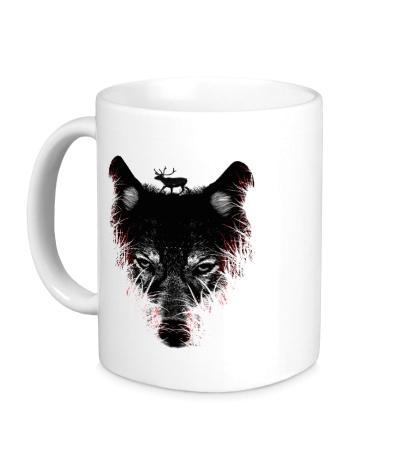 Керамическая кружка Волк на охоте