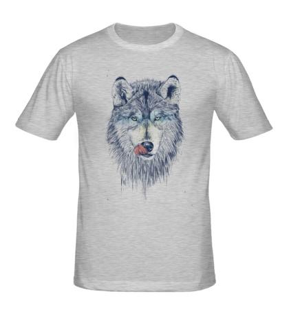 Мужская футболка Облизывающийся волк