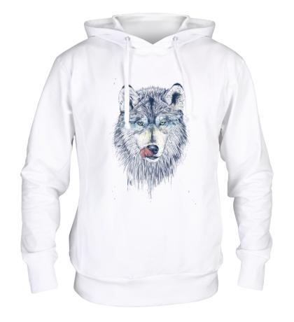 Толстовка с капюшоном Облизывающийся волк