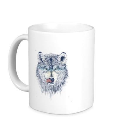 Керамическая кружка Облизывающийся волк