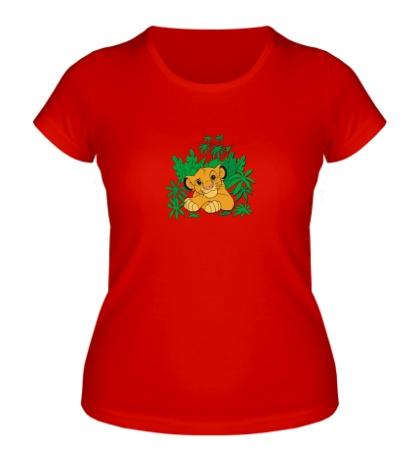 Женская футболка Симба в джунглях
