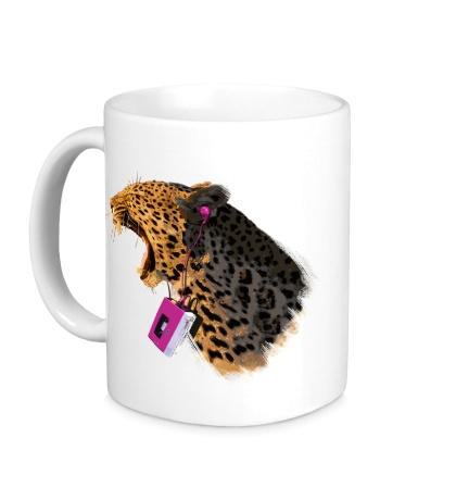 Керамическая кружка Леопард меломан