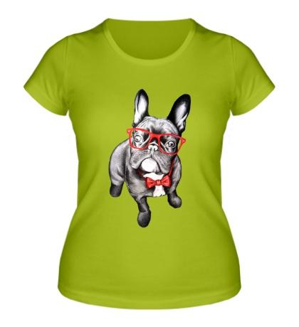 Женская футболка Мопс хипстер