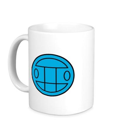 Керамическая кружка Грибы: лого синий