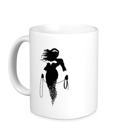 Керамическая кружка Чудо-женщина силуэт