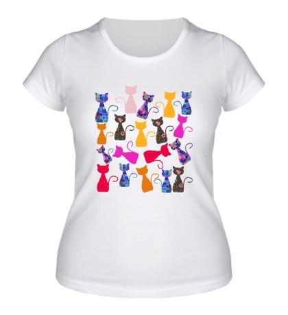 Женская футболка Цветные кошки