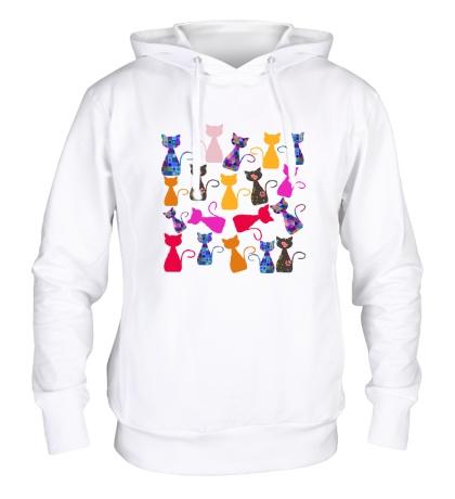 Толстовка с капюшоном Цветные кошки